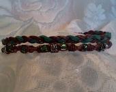 Dark Brown Hemp Anklet With Green Beads