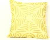 Organic Beautiful Handmade Applique / Light Yellow  Pillow or Cushion Cover - 16 x 16 - 02