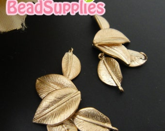 CH-ME-02225 - Matted gold plated,5 dangling leaves, 4 pcs
