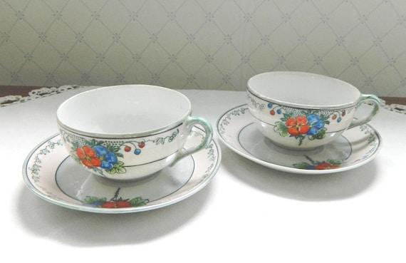 Pair of Vintage Japan Luster Teacups and Saucers