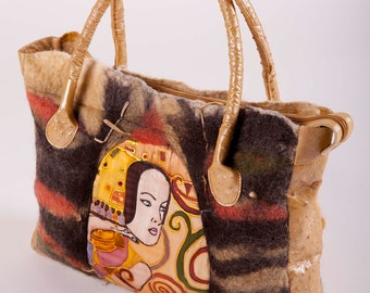 Felt Bag - Wool Hand Bags , Felted Wool Purse, Klimt, Wet Felted Bags Ostrich Leather Handbag Earth tone