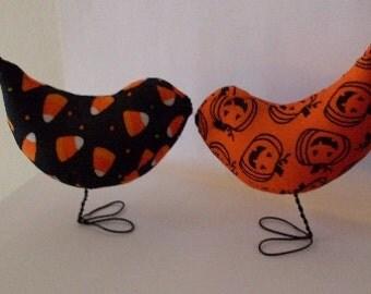 PrimiTive Folkart Harvest Love Birds Cake Toppers Decorations Halloween Nursery Decor