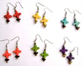 VARIOUS STYLES of Coffee Bean Cross Earrings in Red, Orange, Yellow, Green, Turquoise, and Purple--One Pair