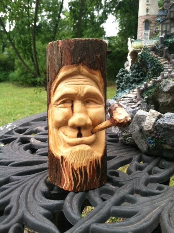 Cedar wood spirit caving hand carved by vcreations on etsy