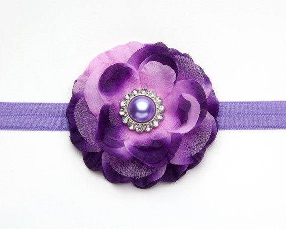 Purple Infant Headband Toddler Girl Rhinestone Pearl Flower Headband