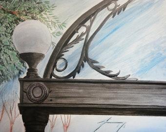 University of Georgia Arch Light  - Watercolor Framed Original Painting