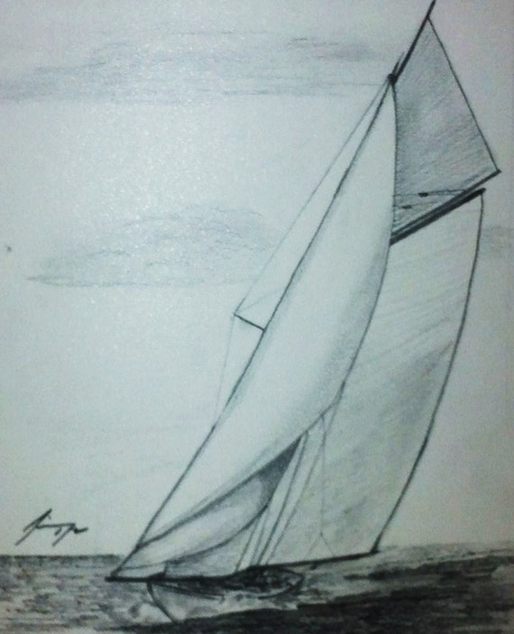 Sailboat Pair of 2 Original Pencil Drawings Last week at