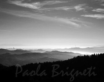 San Francisco Photography, Black and White Photography, City View from North Bay, 8x10, Boho, Wall Art