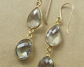 Dangle Green Amethyst Earrings- Amethyst Gemstone Earrings- February Birthstone Earrings- Bridal Earrings- Green Gemstone Earrings