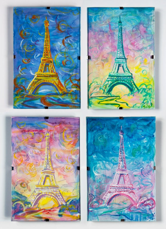 "Original Watercolour painting set ""Paris, Eiffel Tower, Seasons, Feelings"""