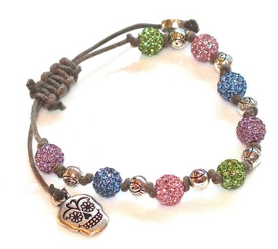 Evil Eye and Skull Skeleton Charms Khaki Cord Bracelet Pink Green Blue Pave Rhinestone Fizz Candy