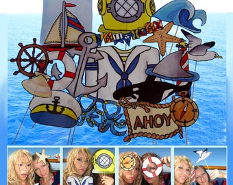 nautical photo booth props - perfect for sailing away or for a maritime sea party - Bon Voyage...