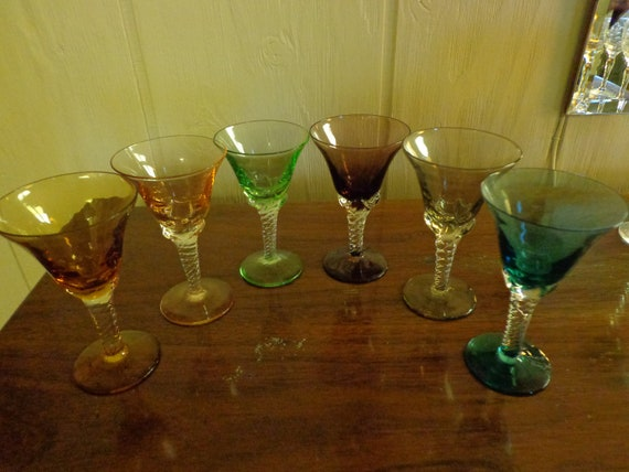6 Hand blown cordial glasses