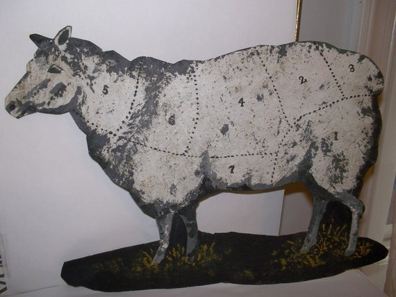 Vintage Lamb Cow Sheep Meat Cuts Tin Metal Sign For A Country