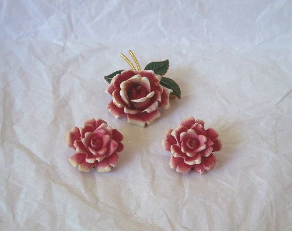 Vintage / Antique Rose Floral Demi Parure made in West Germany 1940's