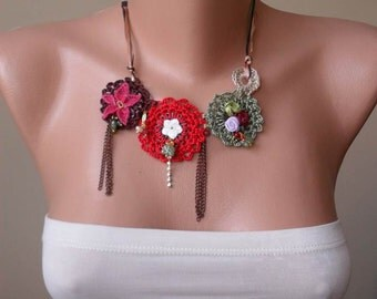 Red -Green Crochet Necklace with Lace and Fabric Flowers - Speacial Design