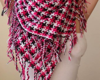 Christmas Gift Scarf Gift For Her Gifts For Women Fuchsia Black and White Houndstooth Scarf Thick Cotton Fabric Trending Item Black Friday