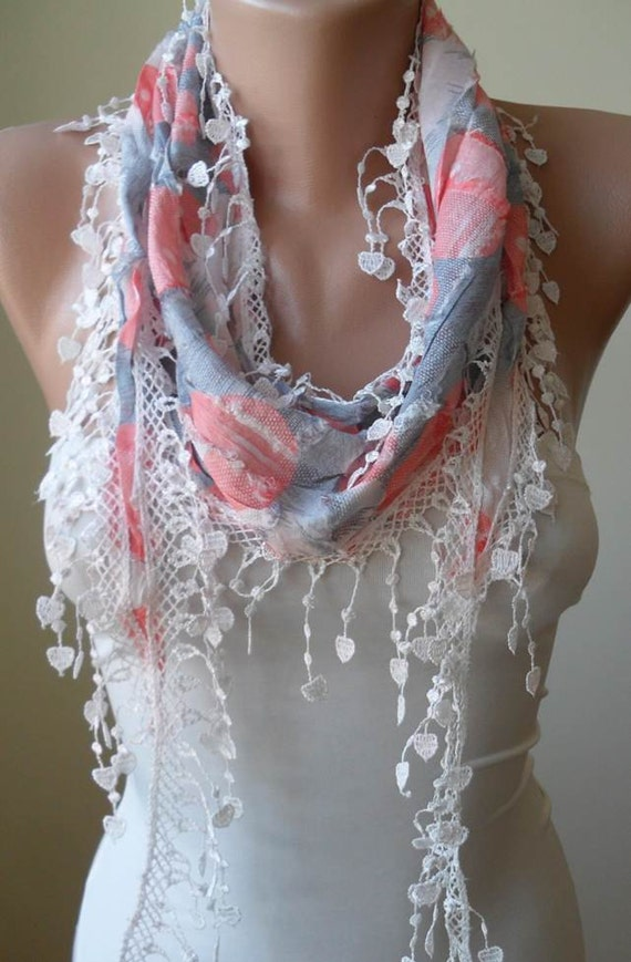 Lightweight - White Grey and Pink Scarf with Trim Edge