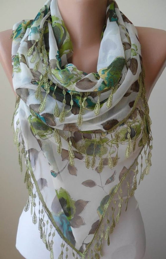 New - Lightweight - Green and Brown -  Silk - Chiffon Scarf with Green Trim Edge