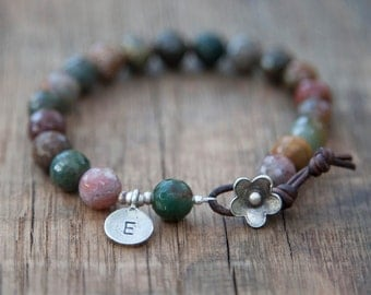 Personalized Initial Charm - Yoga Bracelet with Faceted Jasper Beads  - Leather and Thai Silver Flower Closure