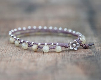 Sunstone and Thai Silver Waxed Linen Beaded Bracelet Finished with a Leather and Thai Silver Flower Clasp
