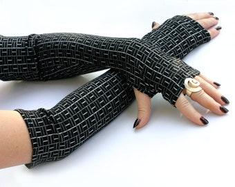 Black   Fingerless Gloves -  Arm Warmers , Gloves , Hand Warmers , Cuffs , Victoriian , Goth , Cotton