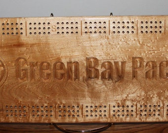 Green Bay Packer Cribbage Board Made From Birds Eye Maple