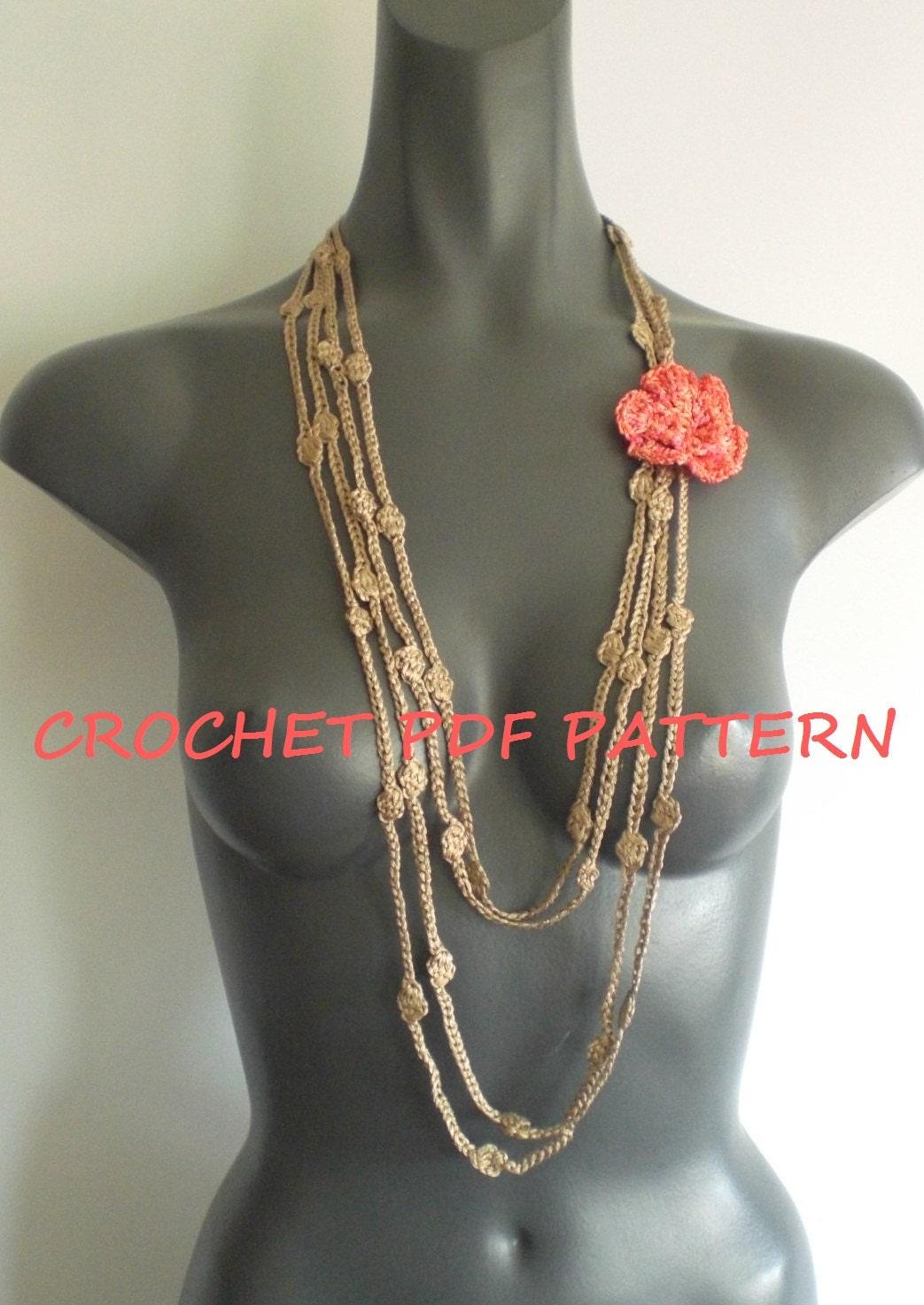 Crochet Flower Necklace Pattern. PDF 024. by vivartshop on ...