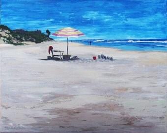 Painting Landscape CA Beach in acrylic original 18 x 24