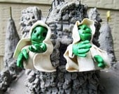 Reserved for Marion Earrings Halloween Green Ghouls