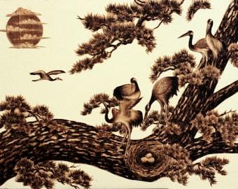 "Cranes, Pine Trees, Longevity, Leaf-burned, Pyrography, 12""x16"""