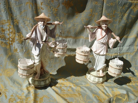 SALE Save 50% - Pair of Japanese Soft Porcelain Chinese Old Man and Woman Carrying Buckets