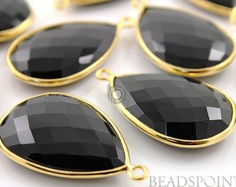 Natural Black Onyx , Bezel Pear Shape Gemstone Component, 30x20mm 1 Piece, (BZC7086)