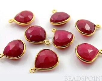 Blood Red Chalcedony Bezel Heart Shape Gemstone Component, 24K Gold Vermeil Over Sterling Silver,  16mm, 1 Piece, (BZC6089)