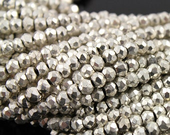 Natural '' NO TREATMENT'' Pyrite Silver Colored Metallic Stone, Micro Faceted Roundells, AAA Quality Gems 3-3.5mm, 1 Strand (PYR3FRNDL(S))