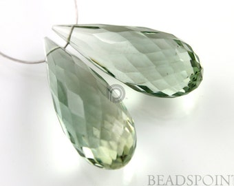 Natural ''NO TREATMENT'' Green Amethyst Micro Faceted Long Tear Drops, AAA Quality Gemstones 25x10mm, 1 Pair, (GAM25x10PR)