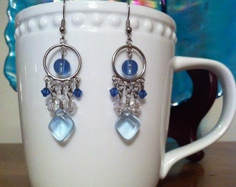 Blue and Clear Glass and Crystal Earrings