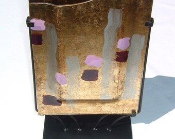 Hand Painted Double Sided Gold Leaf Glass Art with Black Iron Rod Stand