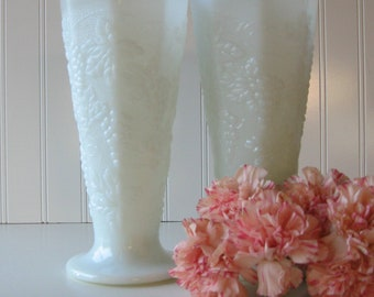Milk Glass Vases, Wedding Milk Glass Vase, Set of Two, Cottage Chic, Shabby Chic