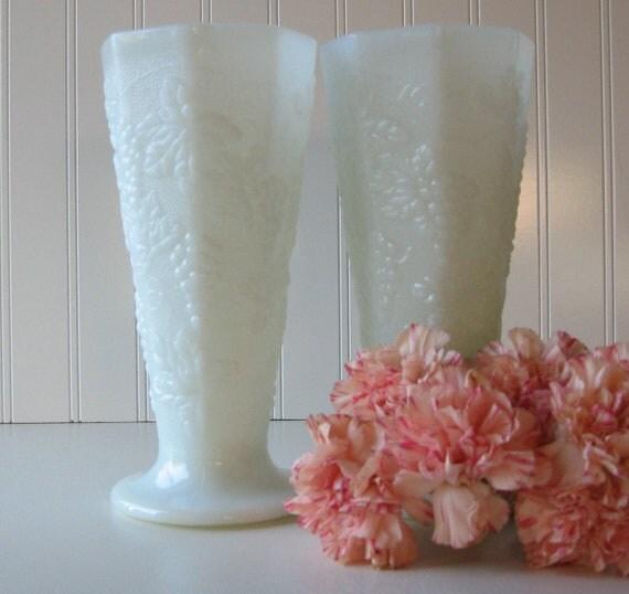 Milk Glass Vases, Wedding Milk Glass Vase, Set of Two, Cottage Chic, Shabby Chic