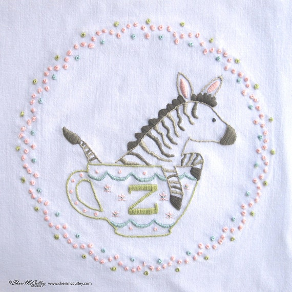 Zebra z hand embroidery letter