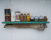 """Kitchen storage, 24"""" driftwood kitchen shelf, distressed & crackled - choose ocean color shelf -MADE TO ORDER"""