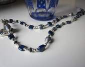 ORIGINAL. Lapis and silver seal with intaglio on matching necklace