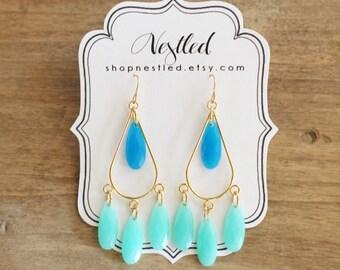Ombre Blue and Mint Teardrop Chandelier Statement Earrings