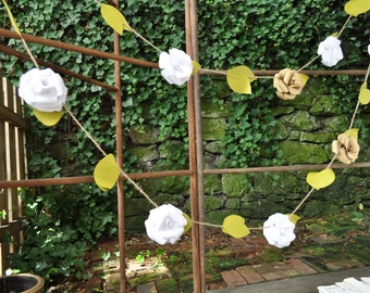 Wedding Garland- Christmas Garland- Paper Flower Wedding Garland-White and gold Flower Garland