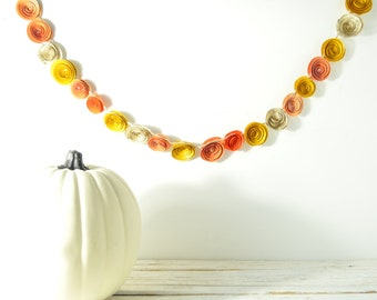 Fall Garland- Orange Yellow Music paper garland, paper flower garland