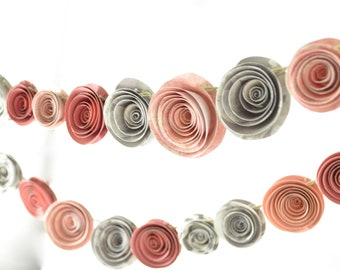 Paper Flower Garland Pink and Gray- baby shower garland-9 feet