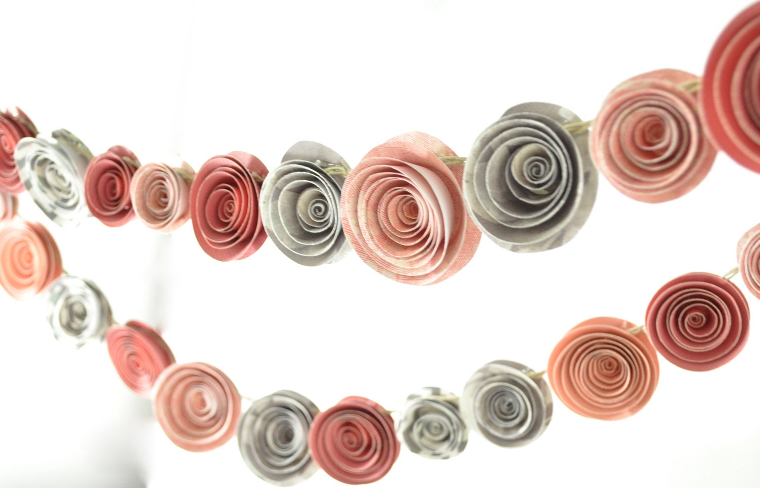 paper flower garland pink and gray baby shower garland