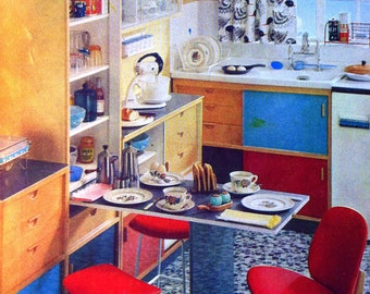 1950s KITCHEN and DURALAY CARPET Doublesided Print