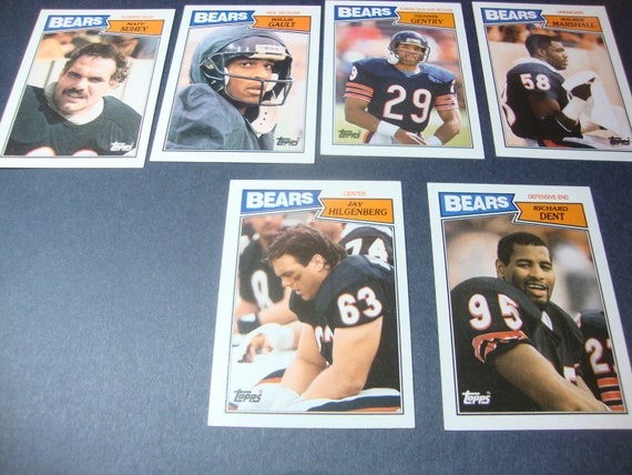 SALE - Vintage Lot of Six Chicago Bears Football Cards - 1987 Topps - Richard Dent, Willie Gault, Jay Hilgenberg, Marshall, Gentry, Suhey